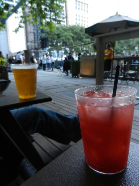 Watermelon & vodka in Bryant Park