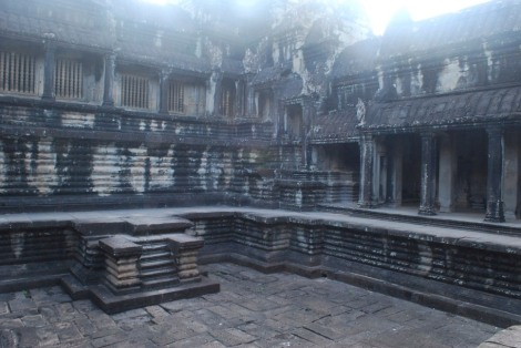 The swimming pool (sans water) at Angkor Wat in the early morning light