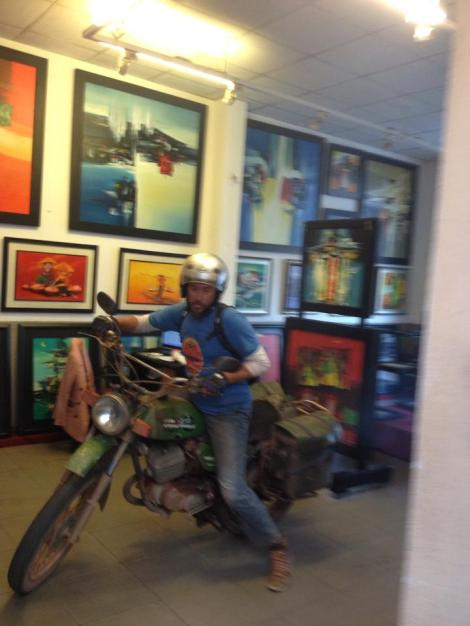 Gav, a motorbike and an art gallery