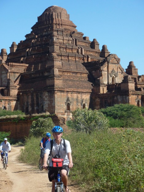 Cycling between the stupas in Bagan, Myanmar